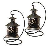 Lumabase 91002 2 Count Metal Tabletop Lanterns, Warm Black
