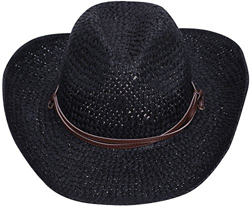Simplicity Men & Women's Straw Cowboy Hat w/ PU Leather Band & Chin Strap Black