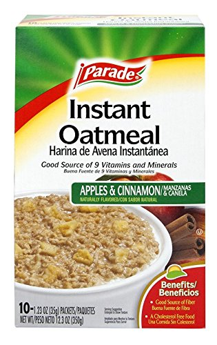 Parade Instant Oatmeal, Apple and Cinnamon, 1.23 0z, 10 Packets