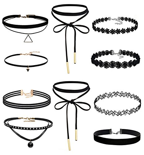 Classic Girls Necklace (Joybeauty Womens Girls Classic Black Velvet Lace Choker Tattoo Henna Necklaces Adjustable Pack of 10 Pcs)