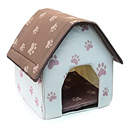 Dog Houses, Petforu Collapsible Dogs Cats Bed Indoor Shelter Cozy and Warm (BEIGE + BROWN)