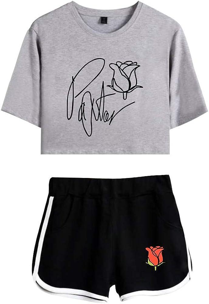 Short 2 Piezas Verano Conjunto Deportivo para Ni/ñas BienBien Payton Moormeier Mujers Camiseta y Pantalones Cortos Set Crop Top T-Shirt