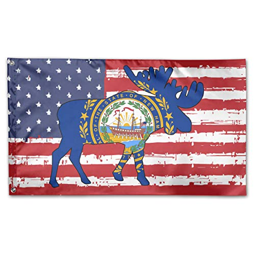 NPZBHoney3x5 New Hampshire State Flag Moose Flag 3' X 5' Ft Banner Breeze Flag