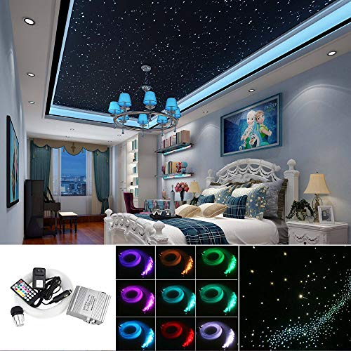 Upgraded Huaxi Car Home Fiber Optic Lights kit 10W RGBW Twinkle + Music Effect Star Ceiling Sky Light, Optical Fiber Cable 450 Strands 0.03in/0.75mm 9.8ft/3m+ 28key RF Remote Control