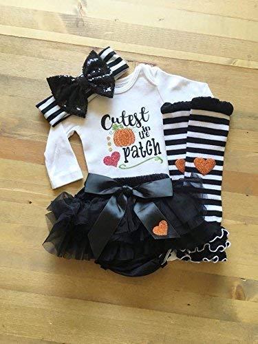 Girls Pumpkin Patch Outfit, Baby Girls Halloween Outfit, Cutest Pumpkin in the Patch, Glitter Pumpkin, Girls Fall Autumn Photo -