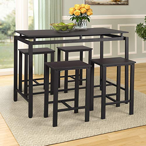 P PURLOVE 5Pcs Dining Set Modern Style Wooden Kitchen Table and Chairs with Metal Legs, Espresso ()