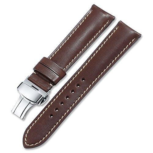 iStrap 20mm Calf Leather Watch Strap Quick Release Band Deployant Buckle Coffee (Watch Longines Strap)