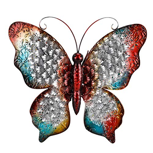 Chisheen Butterfly Wall Decor Red Metal Sculpture for Hanging Indoor or Outdoor Large Size (Butterfly) (Outdoor Hanging Decorations Wall)