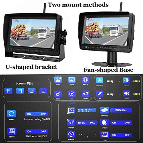 Upgraded Dual Digital Wireless Backup Camera Monitor High Speed