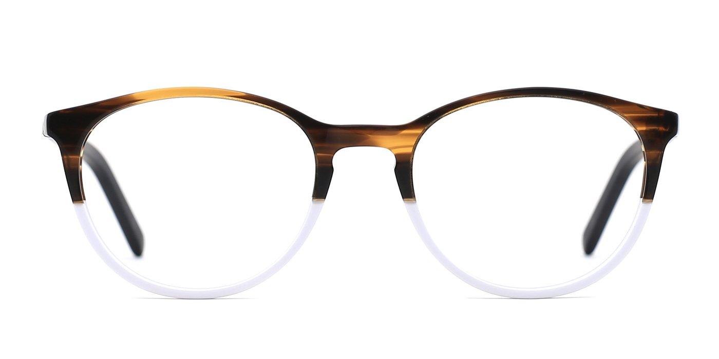 TIJN Women Acetate Round Sunglasses Keyhole Glasses Frame Eyewear