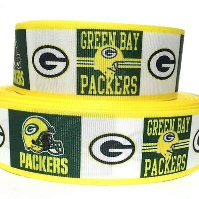 Green Bay Packers Ribbon (1.5 Inch Football Ribbon Grosgrain Green Bay Packers TM9 Hair Bows Crafts 3)