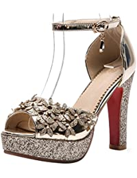 136d5bed7e40a Women s Trendy Sequined Buckle Ankle Strap Peep Toe Sandals Studded Flowers  Platform Chunky High Heels Club