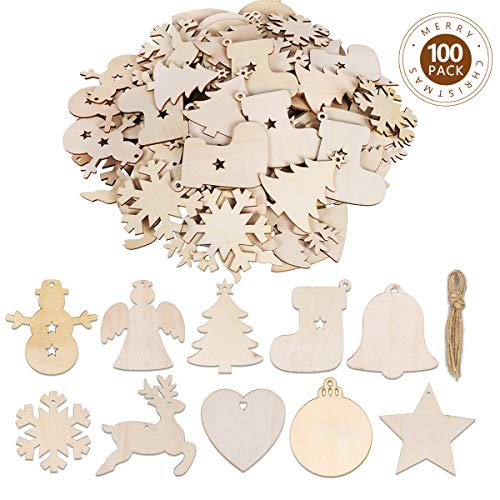 Christmas Ornament Shapes (Max Fun 100PCS DIY Wooden Christmas Ornaments Unfinished Predrilled Wood Circles for Crafts Centerpieces Holiday Hanging Decorations in 10)