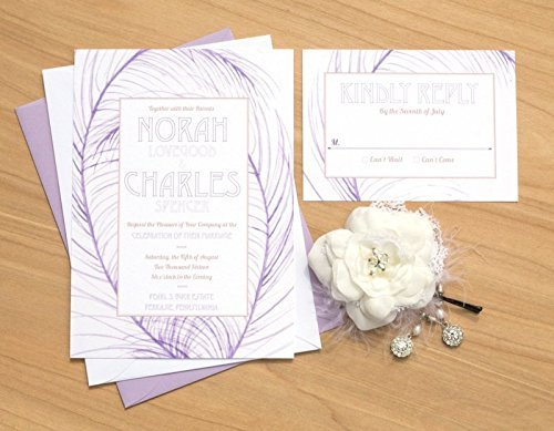 Vintage Purple Feather Wedding Invitation, Watercolor Wedding Invitation, Watercolor Invitation, Purple wedding invitation, Vintage - Invitations Hand Painted Wedding