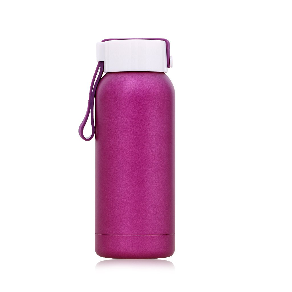 Small Thermos 8OZ/250ML Insulated Water Bottle Tumbler Stainless Steel Flask with Handle, Purple