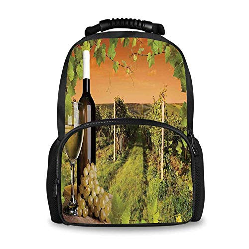 (Winery Decor Adorable School Bag,Bottle and Glass of Wine and the Vineyards of Sunset Countryside Romantic Evening View for Boys,12