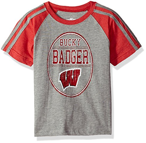 NCAA Boys Raglan Short Sleeve Stripe Tee,Wisconsin Badgers,Red,5