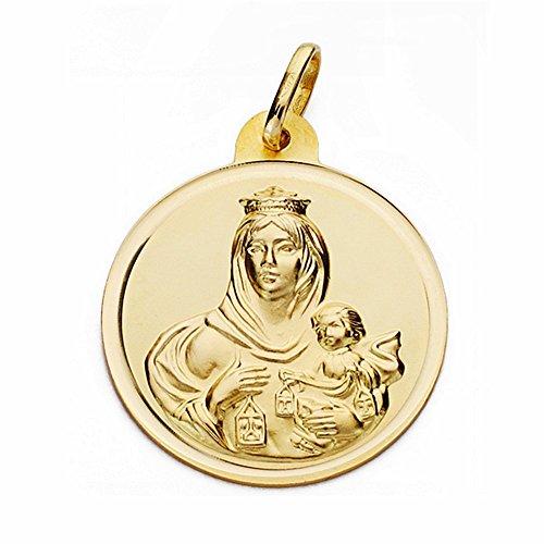 Médaille pendentif or 18k Virgen del Carmen 26mm. lunette lisse [AA2509GR] - personnalisable - ENREGISTREMENT inclus dans le prix