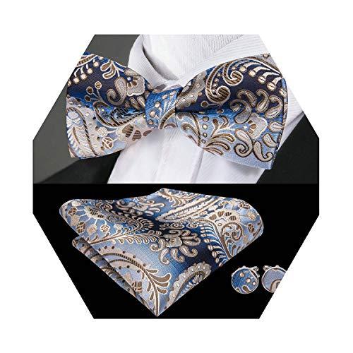 Barry.Wang Mens Brown Blue Floral Bow Tie Set Pretied Silk Bow Tie Handkerchief Cufflinks ()
