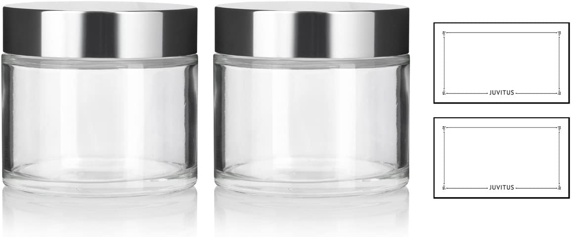 Clear Glass Heavy Base Thick Wall Luxury Professional Balm Jars with Silver Metal Lid – 8 oz 220 ml 2 Pack Labels