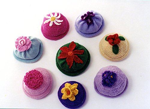 Cap Knitting Pattern - Kid's Flower Caps - Ann Norling Knitting or Crochet Pattern #22 - 6 months (1 yr, 2 yrs)