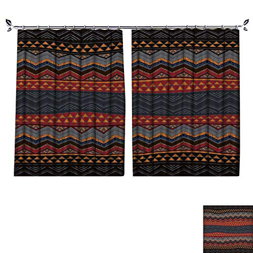 DESPKON Curtain Outer Curtain Boho Style Seamless Pattern Hand Drawn Aztec Wallpaper Suitable for Living Room. W96 x L96