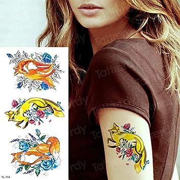 4 Unidades, Tatuaje Temporal Fénix Unicornio Fox Tatuaje Body ...