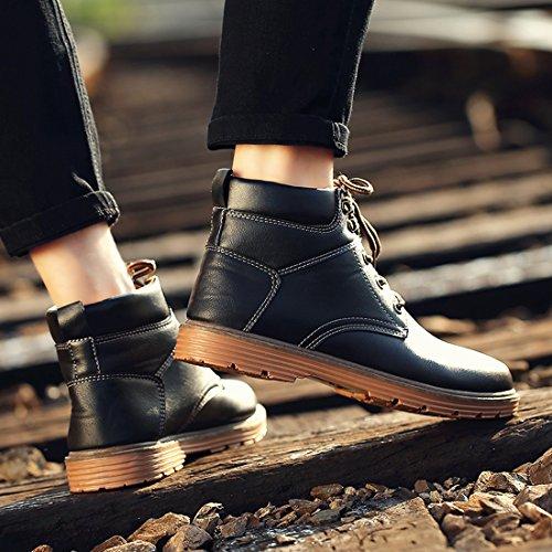 Santimon Herren Martin Stiefel Derby Wasserdicht Kurz Stiefeletten Klassischer Leder Kurzschaft Outdoor Schuhe Schwarz