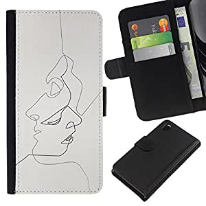 EJOY---La carpeta del tirón la caja de cuero de alta calidad de la PU Caso protector / Sony Xperia Z3 D6603 / --bebido