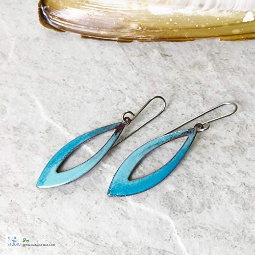 Blue Green Oval Teardrop Earrings Open Hoop Enamel Earrings With Fire Patina