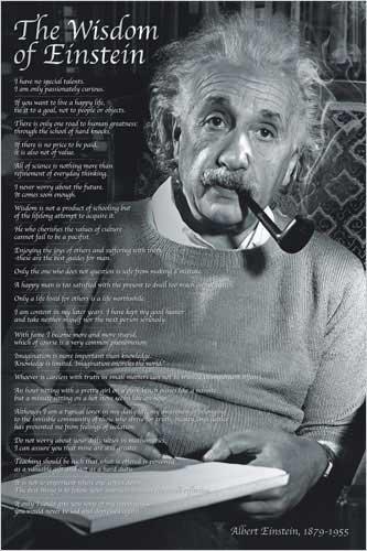 Albert Einstein Wisdom Motivational Quotes Poster 24 x 36 in