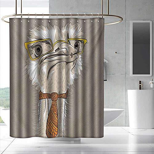 Disney Princess Womens Eyeglasses - Fakgod Indie Bathroom Shower Curtain Sketch Portrait of Funny Modern Ostrich Bird with Yellow Eyeglasses and Tie Bathroom Decoration W72 x L72 Taupe Beige Yellow