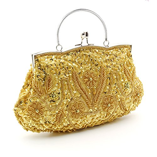 Bag Leaf Sequin Seed Clutch Soft Floral Bead Evening Gold Clutch Party Handbag Wowens HOTER Antique Wedding wfpvp