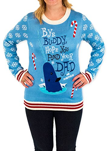 Women's Elf Holiday Narwhal Ugly Christmas Sweater in Blue By Festified (Large)