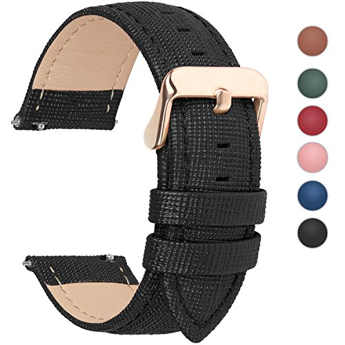 (6 Colors for Quick Release Leather Watch Band, Fullmosa Cross Genuine Leather Replacement Watch Strap with Stainless Metal Clasp 22mm Black)