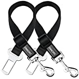 OMORC Dog Seat Belt, [2 Pack] 19-27 Inch Adjustable Dog Harness Pet Car Vehicle Seatbelt Pet Safety Leash Leads for Dogs/Cats, Nylon Fabric Material- Black