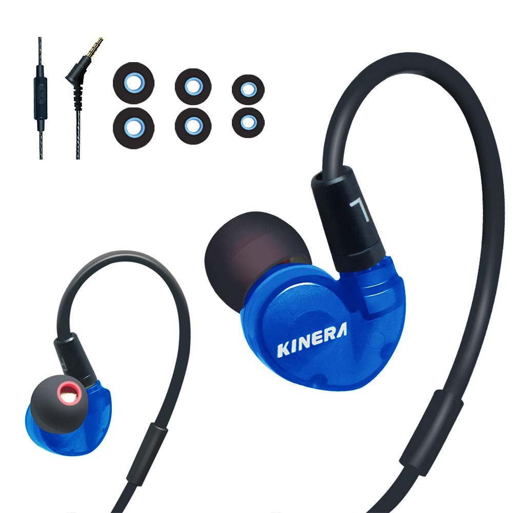 Kinera BD005 Over Ear Headphones Sports Workout Wired Earhook Earphones Sweatproof in Ear Earbuds with MMCX Microphone Noise-Cancelling for Running Gym Exercise Jogging for iPhone, Samsung,etc-Blue