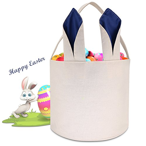Easter Keepsake - Cylinder Bunny Bag Easter Basket Dual Layer Canvas Bag with Bunny Design Easter Egg Hunt Bucket for Carrying Eggs Gifts for Easter Party-Round Bag-Dark Blue