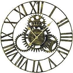 Sorbus Large Decorative Wall Clock, 24 Round Oversized Centurian Roman Numeral Modern Style Home Decor Analog Gold Metal Clock