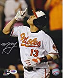 Signed Machado Photograph - 8x10 Home Run Point - PSA/DNA Certified - Autographed MLB Photos