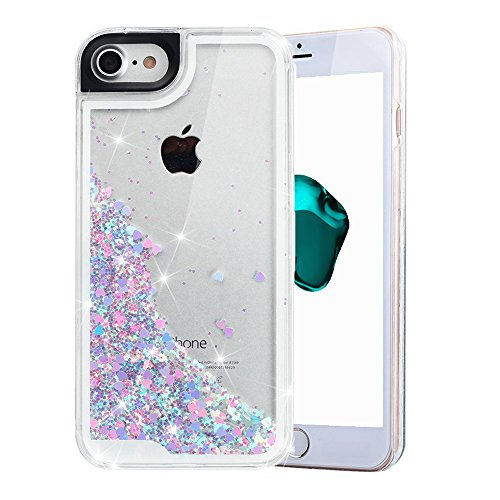 iPhone 7 Case, iPhone 7 Liquid Case, VEGO Glitter Sparkle Bling Flowing Floating Case Cover Fashion Creative Design for Girls for iPhone 7 4.7 inch (BluePink)