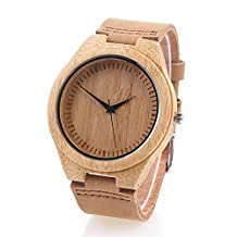 YUSHOP Casual Gift Bamboo Wooden Watches for Women's Men's, Quartz Wrist Watch with Gift Box