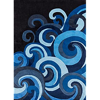 Momeni Rugs LMOTWLMT-1SUR80A0 Lil' Mo Hipster Collection, Kids Themed Hand Carved & Tufted Area Rug, 8' x 10', Surf Blue