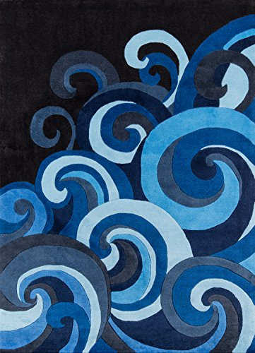 Geometric Paisley Rug - Momeni Rugs LMOTWLMT-1SUR4060 Lil' Mo Hipster Collection, Kids Themed Hand Carved & Tufted Area Rug, 4' x 6', Surf Blue