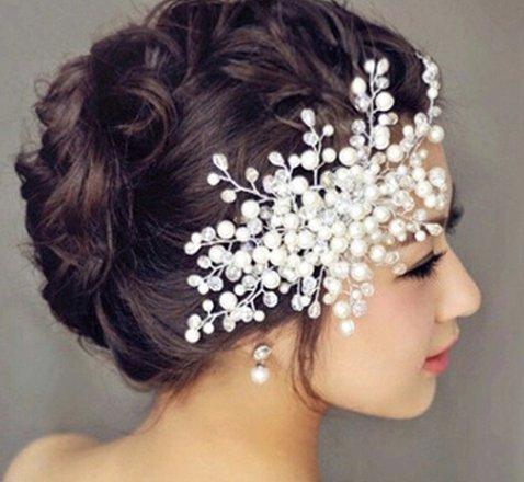 Fetoo Haarschmuck Hochzeit Braut Haarband Fauxperle Kopfbedeckungen Kristall Tiara Stirnband