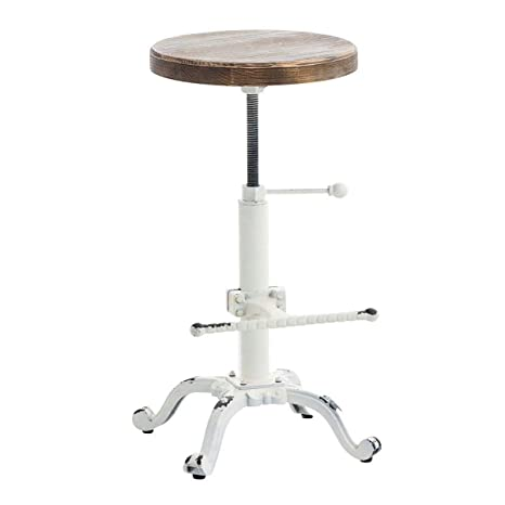 Stupendous Topower Industrial Retro Vintage Farm Wooden Tractor Stool Kitchen Swivel Height Adjustable Bar Stool Antique White Creativecarmelina Interior Chair Design Creativecarmelinacom