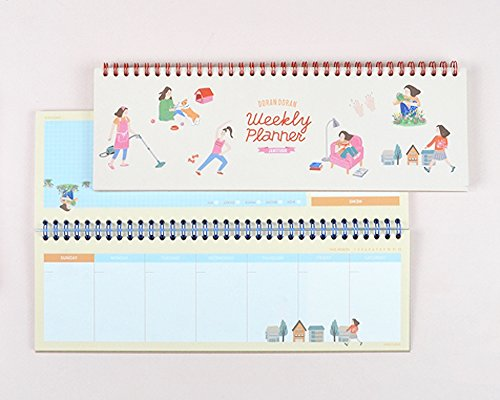 Cute Illustrated Wire Bound Desktop Weekly Planner Pad Undated Calendar Desk Pad Organizer Schedule Agenda To do list notepad, 40 Sheets, 11.7