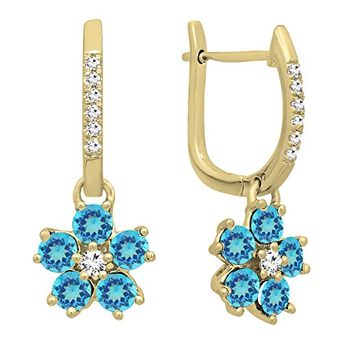 (Dazzlingrock Collection 14K Round Blue Topaz & Diamond Ladies Cluster Flower Dangling Drop Earrings, Yellow Gold)