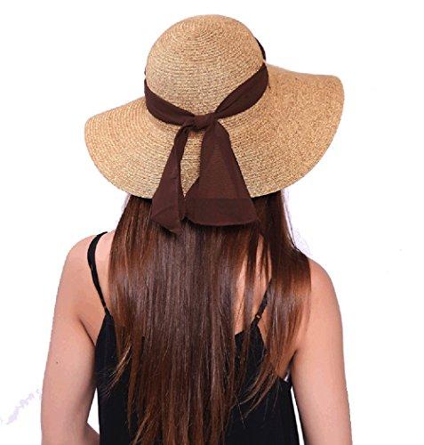 JOOWEN Sun Visor Hat Wide Brim Cap Floppy Foldable Beach Straw Hats for Women (Khaki 2)