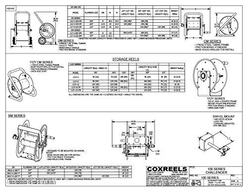 COXREELS 117-3-200-DM Hand Crank Hose Reel,3//8x200